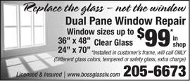 $99 Dual Pane Window Repair